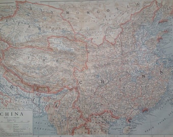 1910 CHINA Large Original Antique Map - 17 x 11 inches - Mongolia - Tibet - Geography - Cartography - Historical Map - Wall Decor