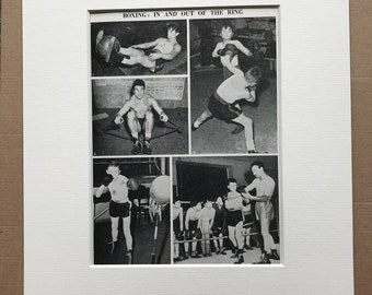 1940s Boxing - In and Out of the Ring Original Vintage Print - Sports - Boxing Ring - Boxer - Mounted and Matted - Available Framed