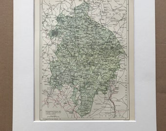 1875 Warwickshire Original Antique Map - Warwick - UK County - England - Vintage Wall Map - Available Framed