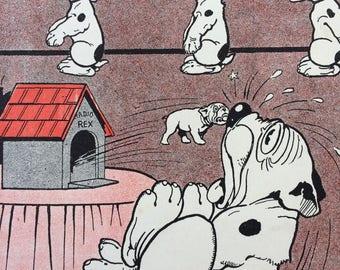 1921 Cute Bonzo Puppy Original Antique Print - Sweet Playful Vintage Cartoon - Comic - George Studdy Art - Gift for Dog Lover
