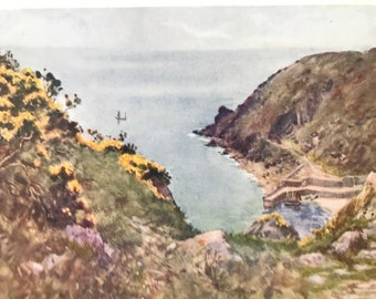 1925 Lamorna Cove Original Antique Print - Cornwall - England - Mounted and Matted - Available Framed