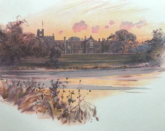 1900 Newstead Abbey Original Antique Print - Nottinghamshire - England - Mounted and Matted - Available Framed