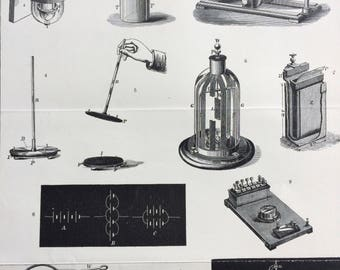 1900 Electricity Original Antique Print - 9 x 10.5 inches - Diagram - Technology - Electrometer - Electroscope - Wall Decor - Home Decor