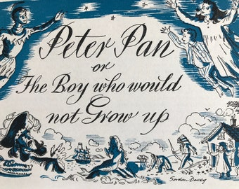 1940s Peter Pan or the Boy who would not grow up Original Vintage Illustration - Mounted and Matted - Available Framed