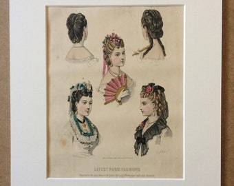 1870 Large Original Antique Hand-coloured Engraving - Latest Paris Fashions - French Fashion - 12 x 16 Inches - Period Vintage Wall Decor