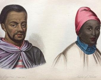 1855 Abbas Gregorius and Native of Haussa Original Antique Hand Coloured Engraving - Human Races - Anthropology - Ethnography - Korea