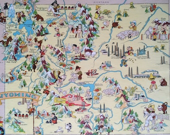 1935 Wyoming Original Vintage Cartoon Map - Ruth Taylor - Mounted and Matted - Whimsical Map - United States
