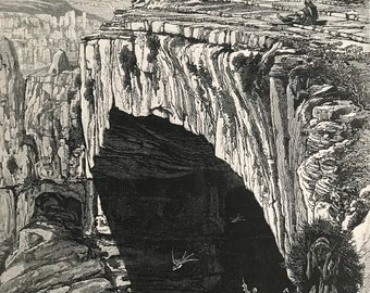 1880 The Natural Bridge, Lebanon Original Antique Engraving - Mounted and Matted - Available Framed - Victorian Decor