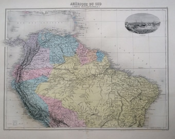 1892 SOUTH AMERICA (North) with Curacao engraving original antique map, Nouvel Atlas Illustre, French atlas map, Geography, Cartography