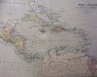 1873 West Indies & Central America original antique map, 10.25 x 13.25 inches