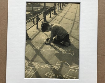 1940s Child drawing on Pavement Original Vintage Print - Mounted and Matted - Available Framed