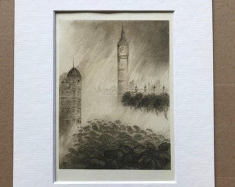 1946 Umbrellas under Big Ben Original Vintage Chiang Yee Illustration - London - Mounted and Matted - Available Framed