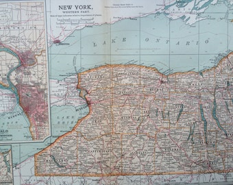1903 NEW YORK (West) Original Large Antique Map - Wall Map - Home Decor - Cartography - 11 x 16 Inches - Detailed Map - Geography