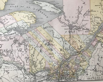 1891 Quebec Original Antique Map - Vintage Decor - Canada - Available Framed