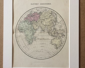 1858 Eastern Hemisphere Original Antique Map - Available Mounted and Matted - 12 x 16 Inches - Gift Idea - Vintage Map - Wall Decor