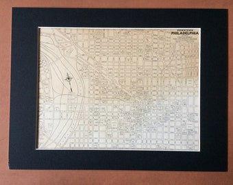 1937 PHILADELPHIA (Central) Original Vintage City Plan Map, 11 x 14 inches, Rand McNally, Pennsylvania - Available Mounted and Matted