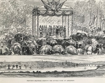 1883 Princess Beatrice opening the Duthie Park at Aberdeen Original Antique Print - Scotland - Mounted and Matted - Available Framed