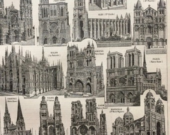 1923 Cathedral Architecture Original Antique Print - Mounted and Matted - Decorative Art - Wall Decor