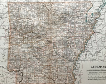 1903 Arkansas Original Large Antique Map - United States - Wall Map - Home Decor - Cartography - 11 x 16 Inches - Detailed Map - Geography