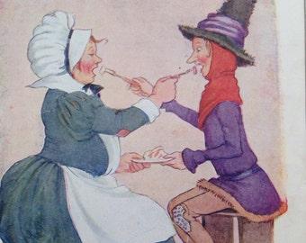 1917 Jack Sprat Vintage Nursery Rhyme Margaret W. Tarrant Illustration - Matted and Available Framed - Wall Decor - Nursery Decor