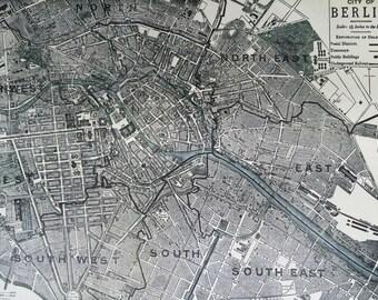1901 BERLIN Original Antique Map, 11 x 14.5 inches, Home Decor, Cartography, Geography, Vintage Decor, City Plan