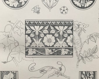 1880 Decorative or Constructive Drawing Original Antique Print - Illustration - Gift for Artist - Mounted and Matted - Available Framed