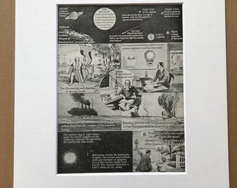 1940s The Marvels of Astronomy and some of its uses Original Vintage Print - Astronomer - Mounted and Matted - Available Framed