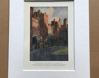 1924 Gateway of Lincoln's Inn Original Antique Print - London - England - Architecture - Mounted and Matted - Available Framed