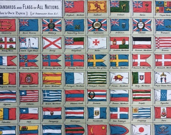 1888 Standards and Flags of All Nations Original Antique Lithograph - Vexillology - Flag - Wall Decor - Military History