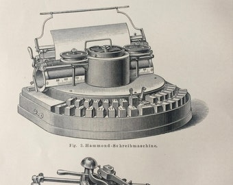1897 Typewriters Original Antique Lithograph - Mounted and Matted - Victorian Technology - Vintage Wall Decor - Available Framed
