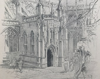 1923 St Mary Redcliffe, South Porch Original Antique Illustration - Bristol - Architecture - Mounted and Matted - Available Framed