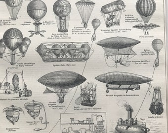 1897 Aeronautics (Ancient and Modern) Original Antique Print - Hot Air Balloon - Mounted and Matted - Available Framed