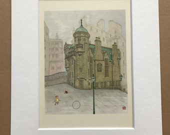 1948 Edinburgh - Lady Stair's House Original Vintage Chiang Yee Illustration - Mounted and matted - Available Framed