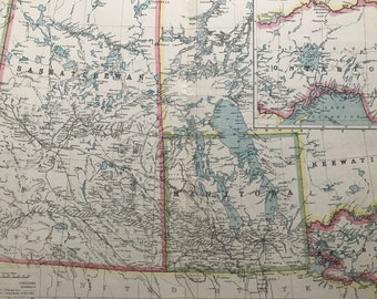 1903 Central Canada including Manitoba & Saskatchewan Original Antique Map showing Land Districts, Indian Reserves, Railways, Steamer Routes