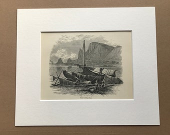 1876 Tartar Fishing-Boats Original Antique Wood Engraving - Mounted and Matted - Available Framed - Russia
