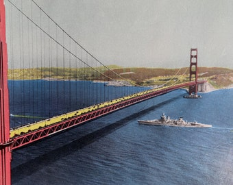 1944 Golden Gate Bridge - World's Longest Single Span - 4200ft Original Vintage Photo Print - California - Railway - Available Framed