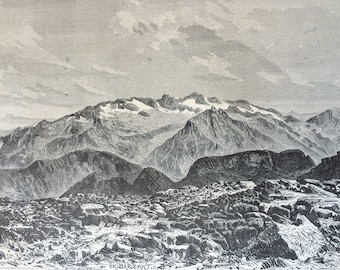 1895 The Maladetta, from the summit of the Posets Original Antique Engraving - Mounted and Matted - France - Available Framed - Landscape