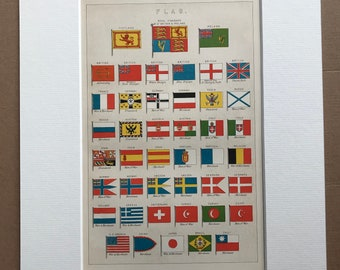 1891 Flags Original Antique Lithograph - Mounted and Matted - Available Framed - Royal Standard - Merchant - Man of War - Vexillology