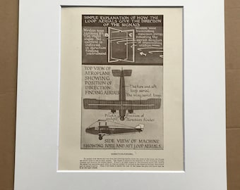 1927 Direction-finding - Aerial Navigation Original Vintage Print - Aircraft - Airplane - Mounted and Matted - Available Framed