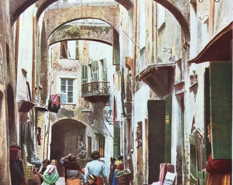 1940s Narrow Lane in Old San Remo Original Vintage Print - Mounted and Matted - Italy - Italian Riviera - Available Framed