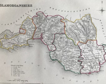 1845 Glamorganshire Original Antique Hand-Coloured Engraved Map - Available Framed - Cartography - Wall Decor - Wales