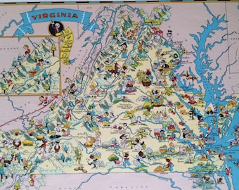 1935 Virginia Original Vintage Cartoon Map - Ruth Taylor - Mounted and Matted - Whimsical Map - United States