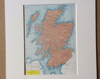 1940s Map of Scotland Original Vintage Print - Scottish Decor - Scottish History - Mounted and Matted - Available Framed