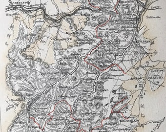1870 Selkirkshire original antique map showing railways, Selkirk, Scotland cartography, 10 x 12 inches, Available Framed