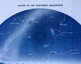1940s March in the Southern Hemisphere Large Original Vintage Print - Astronomy - Star Map - Constellations - Astrology