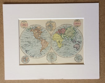 1895 World in Hemispheres Original Antique Map - Mounted and Matted - 8 x 10 inches - Framed Map - Gift Idea - Framed Vintage Art