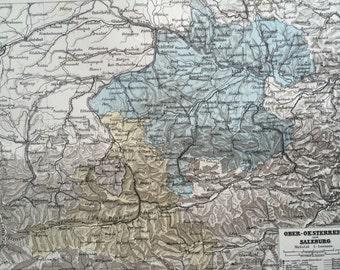 1880 AUSTRIA (Upper) & SALZBURG original antique map, cartography, geography, wall decor, home decor