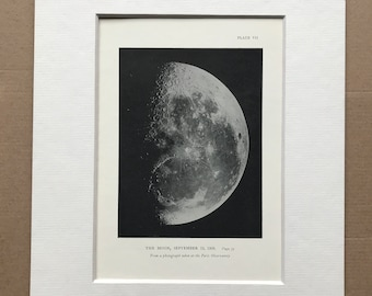 1913 The Moon - September 12th 1903 Original Antique Print - Astronomy -  Mounted and Matted - Available Framed