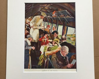 1927 Luxury in Air Travel Original Vintage Print - Airplane - Aircraft - Mounted and Matted - Available Framed