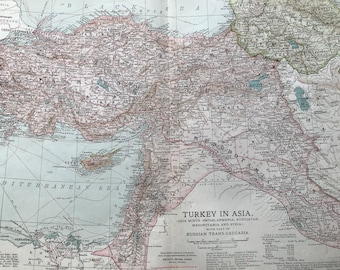 1903 Turkey in Asia Original Antique Map - Asia Minor (Anatolia), Armenia, Kurdistan, Mesopotamia, Syria, Russian Trans-Caucasia, Ottoman